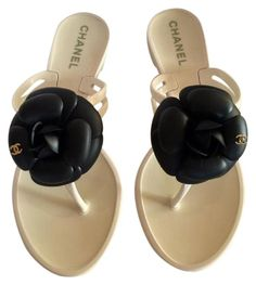 da573d537147 Chanel White with Black Camellia New W Box Jelly Cc Rubber Thong Flip Flop ( 36) Sandals Size US 6 Regular (M