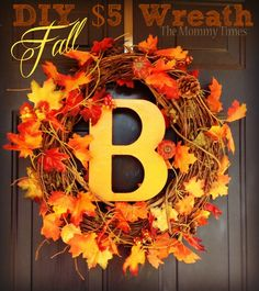 $5 DIY Fall Wreath for your Front Door...a welcoming accessory for autumn.