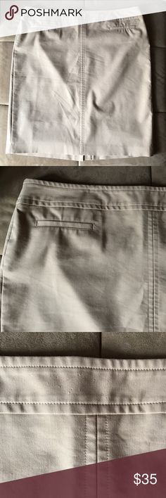 """Talbots Professional Office Beige Skirt sz 20 Great looking skirt for the office. Perfect for spring and summer. Size 20. In excellent condition.  The only flaws I found is tiny tags on fabric (see photo 3) and missing part of the hook (see photo 4). Waist is 11"""". Overall length 25"""" Talbots Skirts Midi"""