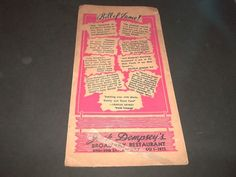 Vintage Jack Dempsey Broadway Restaurant Menu Food & Drink New York 1950 Boxer