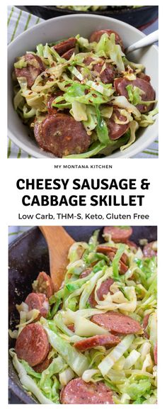 Cheesy Sausage and Cabbage Skillet (Low Carb, Keto, THM-S) trimhealthymama thm thms lowcarb keto easydinner lowcarbdinner thmdinner glutenfree cabbage sausage Low Carb Dinner Recipes, Thm Recipes, Paleo Dinner, Breakfast Recipes, Healthy Recipes, Vegetarian Recipes, Breakfast Ideas, Vegetarian Casserole, Snacks Recipes