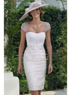 Classic Bateau Natural Knee Length Lace White Cap Sleeve Mother of The Bride Dress with Jack-Bolero and Draped LOZK15009