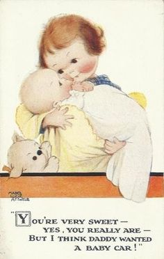 """""""You're very sweet - Yes, you really are ....."""" Humorous Postcard Illustration by Mabel Lucie Attwell ...."""