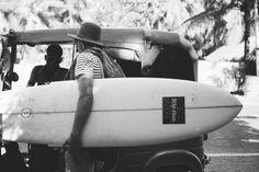 Packing light. Surfboard