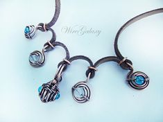 Leather and Copper Necklace Copper Spirals Wire Wrap Necklace Wire jewelry Wearable Art jewelry Gift for her Jewelry made of leather with copper . Wonderful decoration is suitable for different styles of clothing. Leather cord and copper spiral perfect combination of color and material in