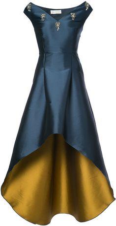 Sachin & Babi Elsa satin high-low hem gown