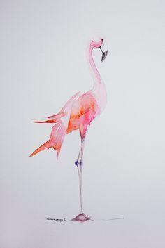 Flamingo Party - Illustration - Aquarelle - Flamant rose - Prêt à imprimer et à télécharger | Vanessa Pouzet