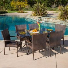 Outdoor Best Selling Home Decor Furniture Alice Wicker 7 Piece Rectangular Patio Dining Set - 294938