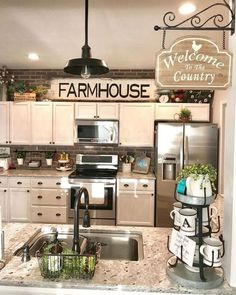30 Wonderful Modern Farmhouse Kitchen Cabinets Decor Ideas And Makeover. If you are looking for Modern Farmhouse Kitchen Cabinets Decor Ideas And Makeover, You come to the right place. Old Kitchen, Farmhouse Style Kitchen, Modern Farmhouse Kitchens, Kitchen Redo, Home Kitchens, Kitchen Dining, Farmhouse Ideas, How To Decorate Kitchen, Farmhouse Kitchen Lighting