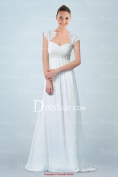 Elegant Empire Chiffon Bridal Gown Featuring Lace Panel and Beaded Band