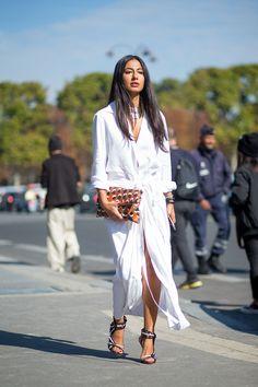 classic white shirt w my wierd linen flared yoga skirt/pants. Nausheen Shah - HarpersBAZAAR.com