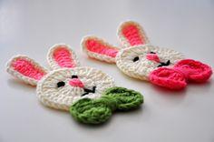 Crochet Bunny Applique with Bows