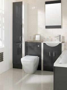 Brecon Graphite Grey and Hacienda White Traditional Bathroom Furniture, Fitted Bathroom Furniture, Small Bathroom Interior, Bathroom Storage, Small Bathrooms, Small Toilet Room, Portugal, Graphite, Bathroom Designs