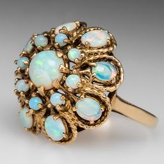 Vintage Opal Multi-Tier Princess Cocktail Ring 14K Gold