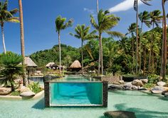 A pool within a pool! Crazy.....  Laucala Island, Salt-water and Lap Pools