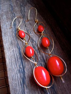 Red '80s Inspired Earrings - Wire Wrapped Earrings - Recycled Jewelry
