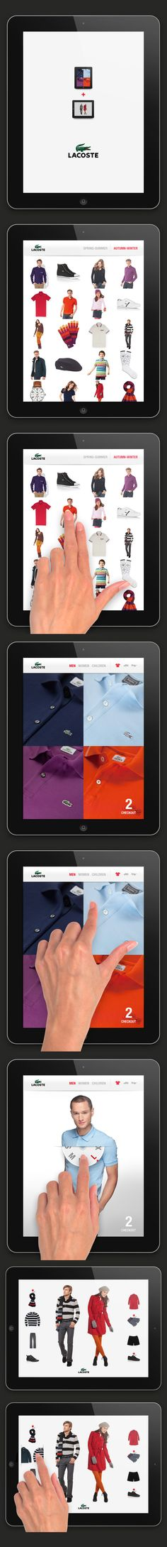 Lacoste iPad App / Pierrick Calvez Studio Ltd. Mobile Application Design, Mobile Ui Design, App Ui Design, Web Design Trends, User Interface Design, Lacoste, Multimedia, Art Actuel, Digital Web