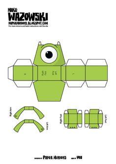 Après Woody et Buzz de Toy Story, voici Sully et Mike de Monstres et Cie. Paper Crafts Origami, Diy Paper, Minions, 3d Templates, Monsters Inc, Paper Folding, Disney Crafts, Paper Models, Paper Toys