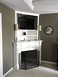diy fireplace mantel creating usable corner space, fireplaces mantels so adorable. Take a look Don't be discouraged! See how to make that awkward corner in your bedroom stunning! Corner Fireplace Mantels, Corner Electric Fireplace, Fireplace Update, Faux Fireplace, Fireplace Design, Fireplace Ideas, Fireplace Furniture, Mantles, Corner Mantle Decor