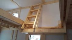 Fold-up ladder for tiny house loft