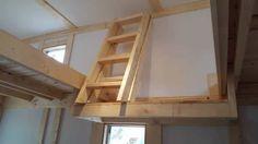 Fold-up ladder for tiny house loft