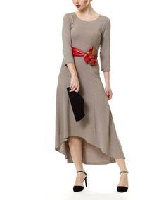 Look at this #zulilyfind! Beige Hi-Low Dress by D'Shea Knitwear #zulilyfinds