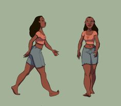 I pinned this because it shows two views of a women walking and this will help me when i create my animation