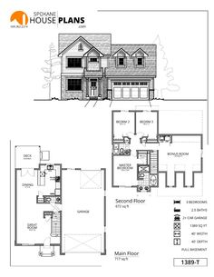 1389-T | Spokane House Plans Two Story Homes Second Story House Plans