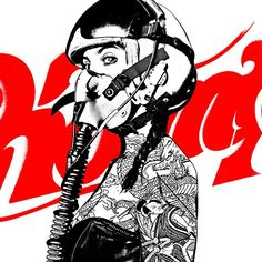 Here is a Kamp Collective piece featuring a female fighter pilot with tattoos and the Kamp logo in the background.