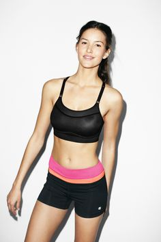 735411663ec28 The Show-Off Sports Bra by Champion features sleek concealing technology  for modesty
