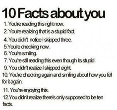 10 facts about you.