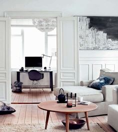 white + mouldings + tall windows and doors + fantastic table  ~via tumblr justthedesign