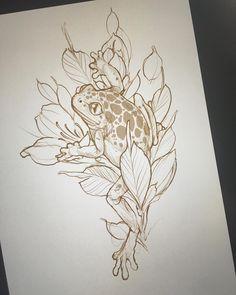 Frog to start tomorow morning. Tattoo Sketches, Tattoo Drawings, Art Sketches, Art Drawings, Nature Tattoos, Body Art Tattoos, Tatuagem Old Scholl, Tattoo Line, Mushroom Tattoos