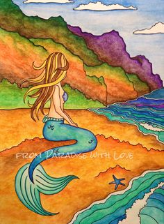 Mermaid Painting  Napali Coast Hawaii  by FromPARADISEwithLOVE, $15.00