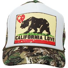 5d56a837676 California Love Republic Snapback Hat On Camo Type 2 Curve Bill - White  Crown