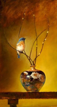 indigodreams: kiraablue: Eastern Bluebird Satsuma Vase by Lori Mcnee Still Life Art, Mellow Yellow, Bird Art, Beautiful Birds, Beautiful Pictures, Blue Bird, Pet Birds, Painting & Drawing, Vases