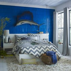 Inspired by our best selling Zigzag Window Curtain, the Ziggy Duvet Cover's graphic chevron pattern offers a fresh update on classic stripes. blue wall
