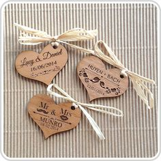 Engraved Wooden Wedding Gift Tags| Personalised Favours