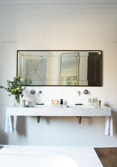 thick marble counters with antique mirror