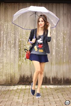 rainy days with Mickey tshirt and a cool umbrella