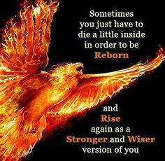 This is the whole reason behind choosing my name Phoenix. The old me is gone, and in their place is a better me. I want a Phoenix tattoo as well