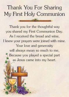 Thank you prayers for the First Holy Communion
