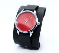 Red Minimalista cuff watches with retro design genuine leather black cuff Black Leather Watch, Watch Case, Leather Cuffs, Retro Design, Bracelet Making, Boyfriend Gifts, Cuff Watches, Band, Minimalist Style