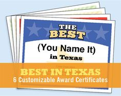 The best in texas customizable award certificates kids create your own award certificates with these best in texas templates https yadclub Images