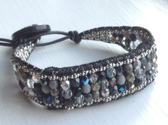 NEW for Fitbit Flex wearers! Black silver white grey multi leather wrap bracelet by MantovaniDesigns, $59.00