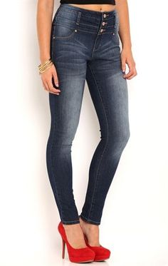 Deb Shops High Waisted #Jegging with 3 Button Waistband $24.00