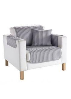Sofaüberwurf Streifen in grau