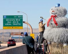 Each year for the holiday season the highway crew in Albuquerque assembles a tumbleweed-man on interstate 40.