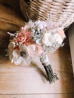 The principle desk is often in the most effective place of your reception location and is a vital focus of … Wood Flower Bouquet, Sola Wood Flowers, Wooden Flowers, Flower Bouquet Wedding, Blush Bouquet, Bride Flowers, Bride Bouquets, Floral Bouquets, Peach Blush