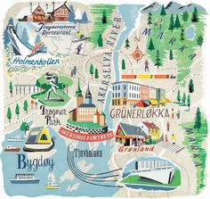 beautiful Oslo map for National Geographic traveller by Anna Simmons